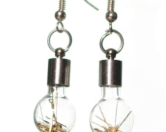 Steampunk glass earrings made from watch hands with real silver hooks