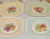 Set Of Four LoVely Johnson Brothers Of England Pastel Fruit Plates