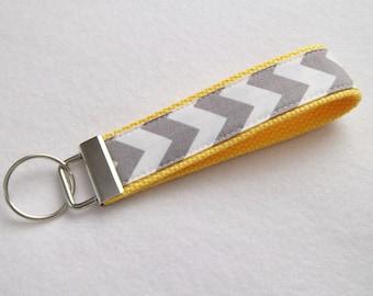 Key Fob/ Wristlet/ Keychain/Gray Chevron print on Yellow/Ready to Ship