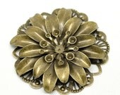 Metal Flower Filigree, 3D layered flowers, Antique Brass Tone, Add Your Personal Touch, 2 pcs