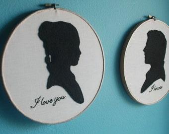 Star Wars Han Solo And Princess Leia Felt Applique Silhouette Embroidered Hoop Wall Art