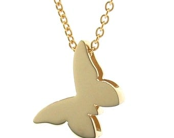 Yellow Gold Butterfly Necklace, butterfly pendant, 9ct solid gold, not plated