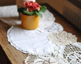 Custom Vintage Doily Table Runner:  72 Inch