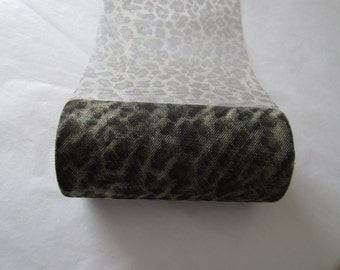 Leopard Print 6 inch wide Tulle Mesh Ribbon - 5 yards