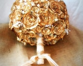 Sepia tones,vintage sheet music flower bridal bouquet. Round with pearls