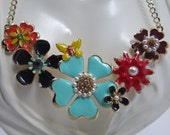 Enamel Flower Statement Necklace ,Multi Color Floral Bib Necklace,Spring Floral Necklace, Flower Bib Necklace