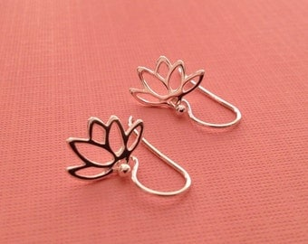 Lotus Earrings in Sterling Silver -Silver Lotus Earrings  -Lotus Jewelry -Yoga Earrrings