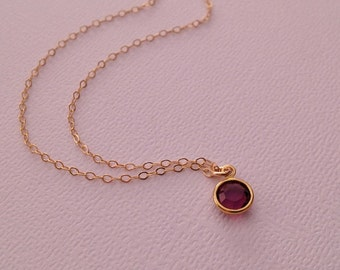 Amethyst Necklace in Gold -Gold Amethyst Necklace -February Birthstone Necklace