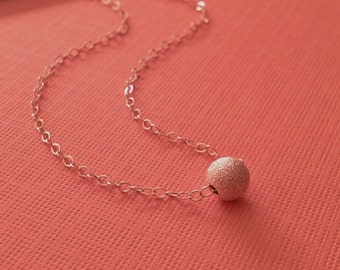 Tiny Silver Necklace -Sterling Stardust Bead Necklace -Minimalist Silver Necklace