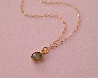 Labradorite Necklace in Gold -Gold Labradorite Necklace -Tiny Gold Labradorite Necklace