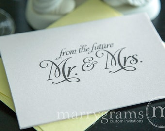 Bridal Shower Thank You Cards - Wedding, Shower, Newly Engaged Couple Gift - From the Future Mr. & Mrs. Fancy, Shimmer Stock (50 Count)