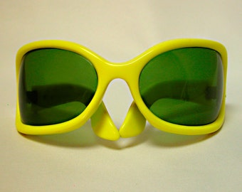 Giant Bright Yellow Wraparound Sunglasses, Roadrunner, Tropic-Cal, Made in France