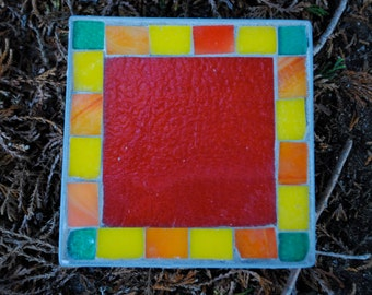 Red Green Orange and Yellow Mosaic Table Art Coaster Trivet