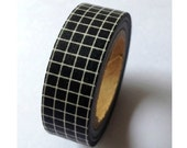 White Grid with Black - Japanese Washi Masking Tape - 11 yards