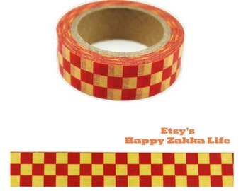 Red and Yellow Check - Japanese Washi Masking Tape - 11 Yards