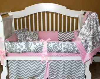 Baby Girl Crib Bedding Set Sophie - Girl Baby Bedding, Pink and Gray Baby Bedding, Crib Rail Cover