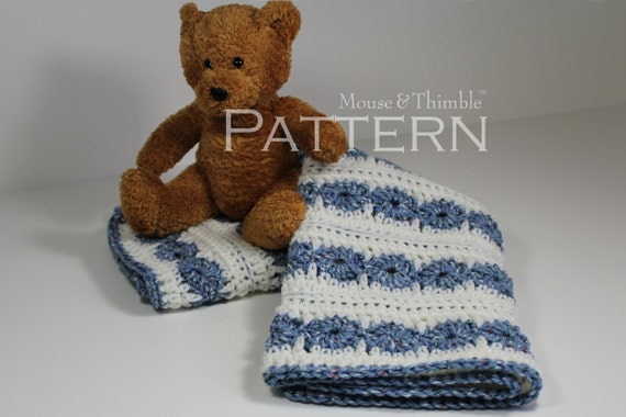 Crochet PATTERN - Wheels & Stripes Baby Afghan Blanket - 26x21 Printable Download PDF 1507