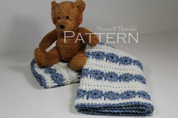Crochet PATTERN - Wheels & Stripes Baby Afghan Blanket - 26x21 Printable Download PDF 1507