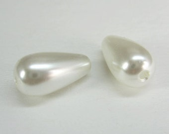 24 Pcs - Smooth Pearly White Acrylic Drop Pearl Beads, Plastic Beads (7x13MM) JSS002