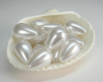 50 Pcs - Smooth White Acrylic Drop Pearl Beads, Plastic Beads, Large (10x16MM) JSS001