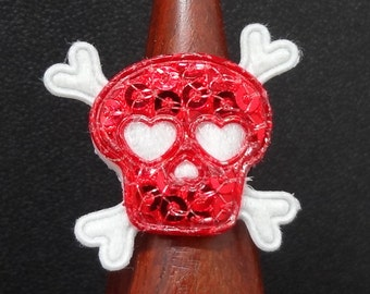 Kids Ring Red Skull and Crossbones OOAK - on an EXTRA Small Adjustable Silver Ring Band