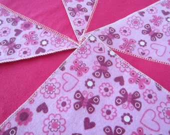 Flannel Wash Cloths/Cloth Diaper Wipes for Baby in Pink with Butterflies, Hearts and Flowers (10)