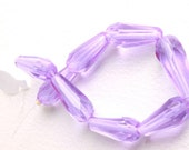 faceted tear drop lilac czech hand cut beads set of eight