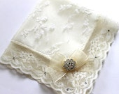 Swarovski bride handkerchief Couture wedding hankie Lace Handkerchief Ivory handkerchief Mother of bride gift Bridal shower gift Bride Hanky
