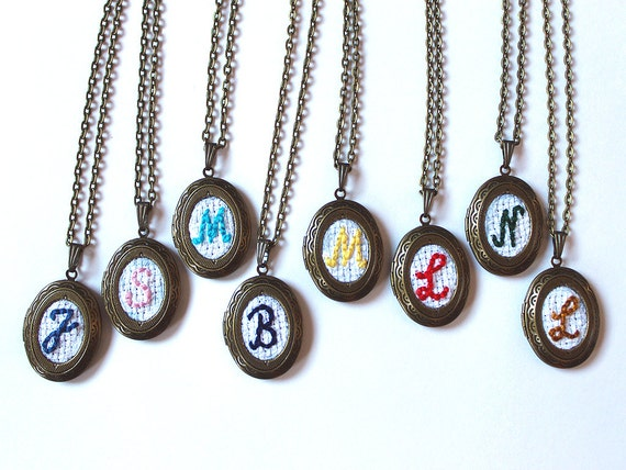 8 Embroidery Monogram Bridesmaid Locket Necklaces, Vintage Monogrammed Personalized Bridesmaids Gifts, Antique Bronze Bridesmaid Jewelry