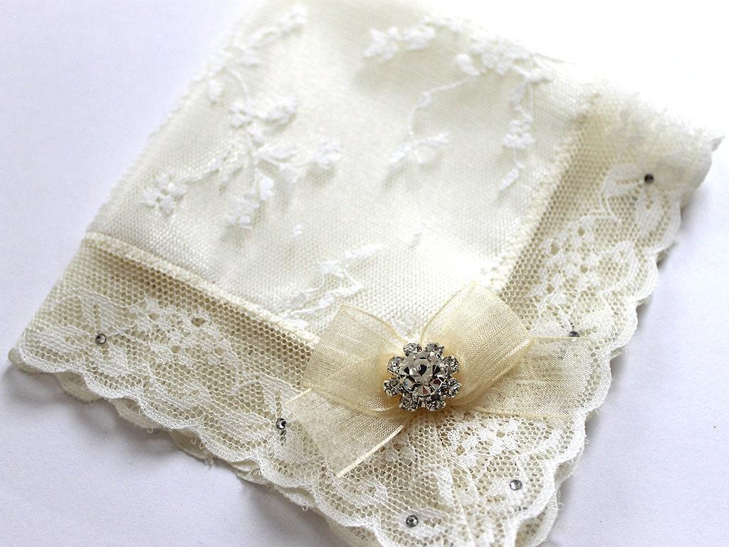 Swarovski Bride Handkerchief Couture Wedding By Aristocrafts