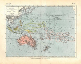 Antique Map of Oceania, 1910s,  100 Years Old Lithograph