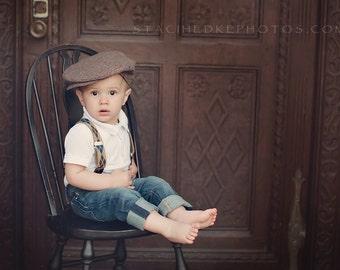 Tweed Newsboy- Wool Tweed Flat Cap - Tweed Driving Cap - Man Wool Winter Hat - Toddler Ring Bearer Photo Prop In Herringbone  Dressy Man Hat