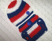 All American Red White and Blue, American Pride Baby Diaper Cover and Hat Set.