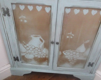 """Vintage French  style corner cupboard  painted in """"Duck egg blue,"""" Recycled."""