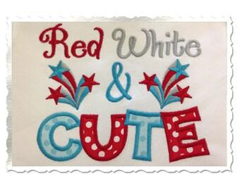 Red White & Cute Machine Embroidery Applique Design - 4 Sizes