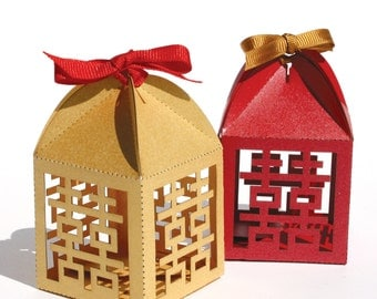 "Laser cut favor box - ""Double Happiness"""