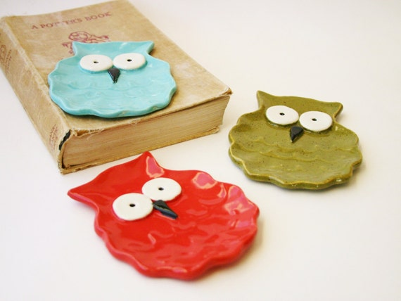 Mr. Owl Spoon Rest - Jewelry Tray Soap Dish - Choose Your Color - Tiffany Blue Olive Green Paprika Red - Made to Order