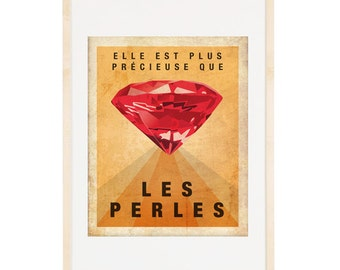 More precious than rubies - In FRENCH Vintage inspired Poster 8x10 Art Print