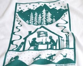 Flour Sack Dish Towel - Hot Cocoa: Winter Green