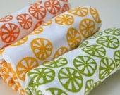 Flour Sack Dish Towel - Citrus Slice: Orange or Green or Yellow