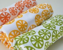 Flour Sack Dish Towel - Citrus Slice: Orange or Green or Yellow