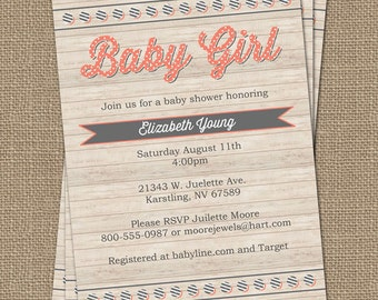 baby girl shower invitation with wood background, digital, printable file