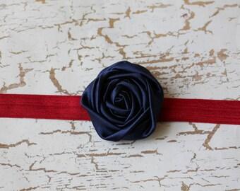 Navy Rosette on Dark Red Elastic Headband