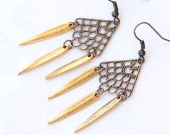 Steampunk Jewelry, Edgy Jewelry, Spike Earrings, Brass Earrings, Gifts for Her, Jewelry Under 50, Mixed Metal Jewelry, Bohemian Style