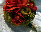 wedding bouquet silk flower bouquet olive green and red bridal bouquet  small bouquet