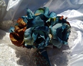 Wedding bouquet blue and brown silk flower bridal bouquet