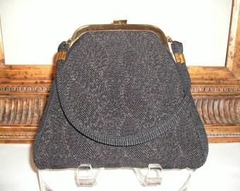 Vintage 1950's Small Black Handbag