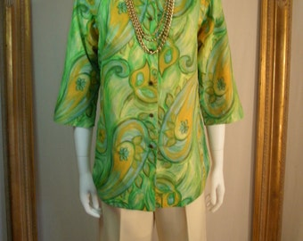Vintage 1960's Alex Coleman Paisley/Floral Print 3/4 Sleeve Blouse - Size 12