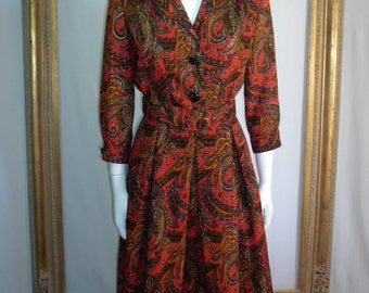 Vintage 1960's Red Paisley Wool Dress - Size 10