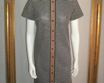 Vintage 1960's Taupe/Black & White Striped Dress - Size 12
